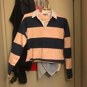 Striped Pink Blue Polo Long Sleeved Cropped Top